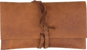 Drehertasche Leder braun antik 16cm mit Lederband und Zigarettenpapierfach