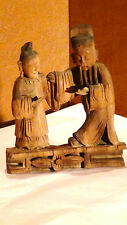 ANTIQUE 18C CHINESE CAMPHOR WOOD HAND CARVED STATUE OF AN OLD COUPLE