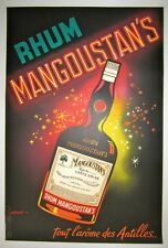 """Vintage 1930's French """"Rhum Mangoustan's"""" Poster on Linen"""