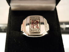 Vintage Classic Style Red Script Chrome ROLLS ROYCE Nickel Silver Ring Double RR