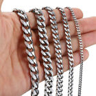 16-30 Stainless Steel Silver Chain Cuban Curb Men Women Necklace 3/5/7/9/11mm