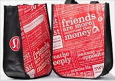 2 Lululemon Small Shopping   Reusable Red Black Tote, Bag