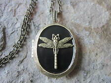 BRONZE DRAGONFLY ON BLACK BACKGROUND BRONZE LOCKET - INSECT, SUMMER