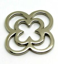 SOLID 9CT  WHITE GOLD SMALL and LARGE FOUR LEAF CLOVER PENDANT*Free express post