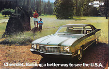 "1972 Chevrolet Monte Carlo Sales Brochure Poster 72 Chevy 11""x17"""