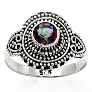 Natural Mystic Topaz 925 Sterling Silver Ring s.8 Jewelry E726