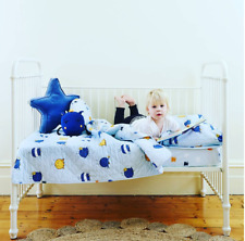Boys 3 Pc Cot Baby Bedding Set Monsters Blue Crib Quilt Blanket Toy Cushion New
