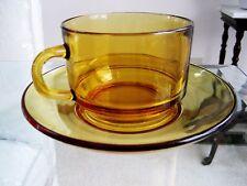 Vintage Duralex VERECO France Amber Glas Tasse & Untertasse