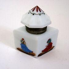 Vintage Art Deco White Milk Glass Ink Bottle Inkwell Octagon Hinged Lid Kids