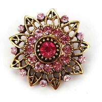 Brooches Flower Women Wedding Bridesmaid Brooch Pin Retro Crystal Antique Gold