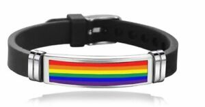 NEW Bracelet Silicone Rainbow Pride Gay LGBTQ Stainless Steel Wristband