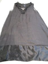 GAP FAB BLACK SHEER FINE CHIFFON FRILLY NECK SLEEVELESS DRESS UK 10 SLIP NEEDED
