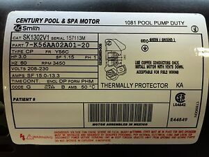 New 3 HP Centur Pool and Spa Motor