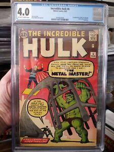 Incredible Hulk #6 CGC 4.0 OW/W 1st Teen Brigade & Metal Master (Magneto Tryout)