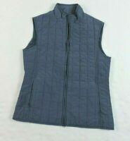 Relativity Womens Small Quilted Smokey Blue Full Zipper Light Weight Jacket Vest