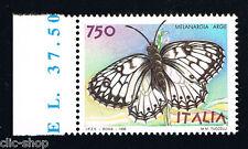 ITALIA 1 FRANCOBOLLO ANIMALI FARFALLE MELANGIA ARGE 750 LIRE 1996 nuovo**