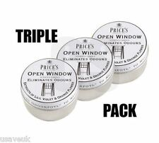 3 x Prices Open Window Scented Candle Tin Candles - Eliminates Odours