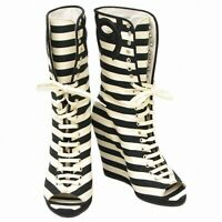 Authentic Chanel Striped Short Heel Boots Shoes Women ladies 36 Black White Coco