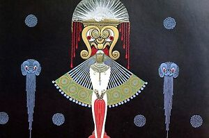Erte Matted Print 1982 SALOME Oriental Lady BIG HEADRESS Art Deco Illustration