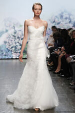 Monique Lhuillier Ivory Emma Chantilly Lace Wedding Dress with Bow - Size 0