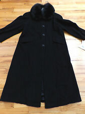 NWT Marvin Richards Black Long Lambswool Coat with Saga Fox Collar Size 12