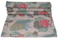 Floral print Twin/Single Kantha Handmade Quilt Cotton Quilt Bed Cover Throw