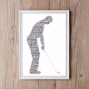 Golfer Personalised Word Art Gift Golf Print Dad Sport Keepsake Present Fathers