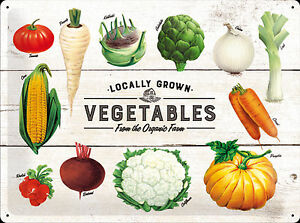 Nostalgic Art Vegetables from The Organic Farm Tin Sign 11 13/16x15 11/16in