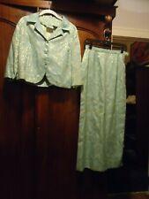 New listing Vintage Sandy Lane Sky Blue & Gold Brocade 2 Pc Jacket & Fl Skirt Suit 8 -10