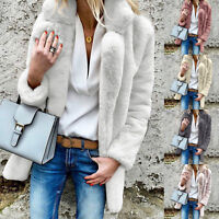 Womens Faux Fur Plush Long Sleeve Lapel Coat Solid Winter Thick Jacket Cardigans