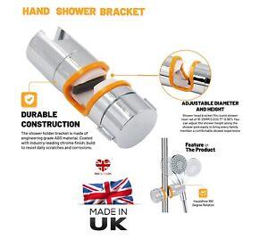 STRONG SHOWER HEAD RISER RAIL CLAMP BRACKET HOLDER TWIST 18-24 mm CHROME FINISH