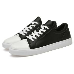 Hot Men's Round Toe Sport Flat Lace Up Causal Walking Shoes Black White 39-45 L