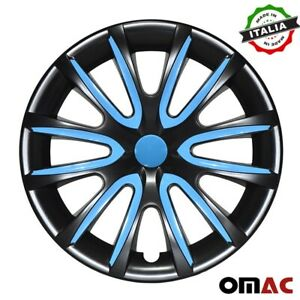 "15"" Hubcaps Wheel Rim Cover Glossy Black with Blue Insert 4pcs Set For Nissan"