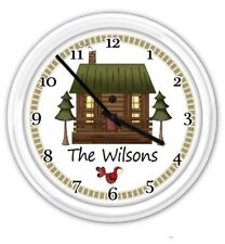 Cottage Cabin PERSONALIZED Wall Clock Country Primitive Decor Rustic GIFT