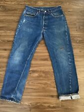 Rare Vtg 80s Levi's 501 Redline Selvadge 34x34 Tag 33x32 Measured #653 No Big E