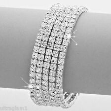 CRYSTAL RHINESTONE 5-ROW SPIRAL BANGLE BRACELET CUFF/CROSSDRESSER/DRAG QUEEN