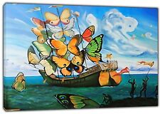 SHIP BUTTERFLY BY   SALVADOR DALI REPRINT ON FRAMED CANVAS  WALL ART DECORATION