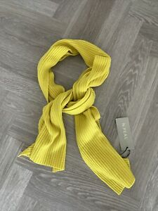N.PEAL 100% Cashmere Ribbed Scarf Sunbeam Spring Yellow RRP £219 New with Tags