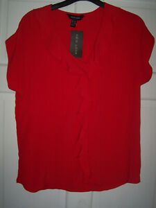 nwt red chiffon top size 10