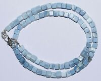 """925 Sterling Silver Natural Blue Opal 16"""" Strand Necklace Box 5 mm Beads ZXSWSA"""