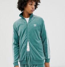 🔥RARE Men's ADIDAS ORIGINALS Cozy Full Zip Soft Velour Track Top M Mint Green