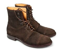 A.Testoni Men brown woven suede leather ankle boots 9 US (8 UK) NEW