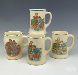 4 Antique Roseville Art Pottery Creamware Dutch Boy Girl w Sailboat Cup Mugs BPB