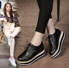 Womens Mixed Color Wedge High Heels Lace Up Shoes Brogue Muffin Platform Oxfords