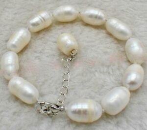 Stunning Genuine 11-13mm WHITE Baroque Freshwater Cultured Pearl Bracelet 7.5''