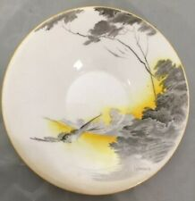 More details for vintage antique shelley art deco yellow lakeland saucer hand painted 12336