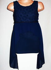 GIRLS DARK BLUE BEAD TRIM LACE CHIFFON SPECIAL OCCASION PROM PARTY DRESS age 7-8
