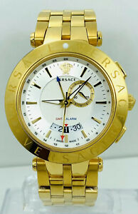 Versace V-Race 29G70D001S070 GMT Alarm Golden Stainless Steel Men's Watch 29G