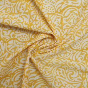 Hand Block Printed Yellow 100% Cotton Women Dress Craft Soft Fabric
