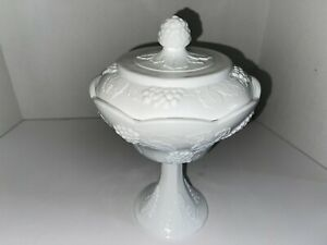 INDIANA White Milk Glass Grape Harvest Footed Covered Compote Lid Candy Dish